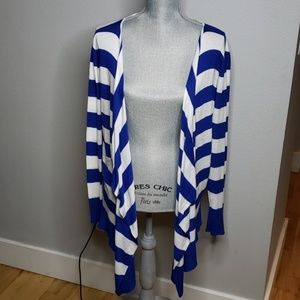 Torrid Blue and White Cardigan